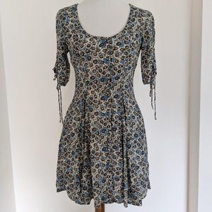Free People Lace Up Boho Cottagecore Mini Dress Blue and Ivory Floral Printed XS